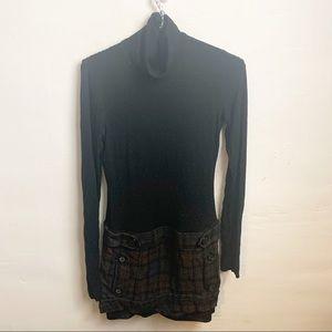 Bailey 44 Black Turtleneck Plaid Drop Waist Dress